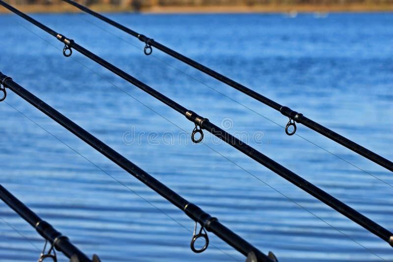Αλιεύοντας τον εξοπλισμό - περιστροφή αλιείας Ξημερώματα, βροχή, ομίχλη Σύλληψη ψαράδων ` s Μια επιτυχής σύλληψη Αλιεία στο Βόλγα στοκ εικόνες