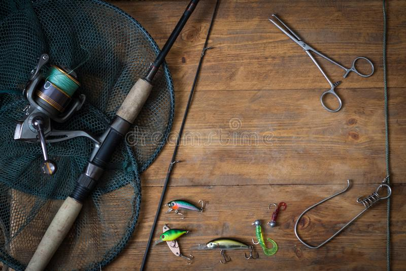 Αλιεύοντας τον εξοπλισμό - περιστροφή αλιείας στοκ φωτογραφία
