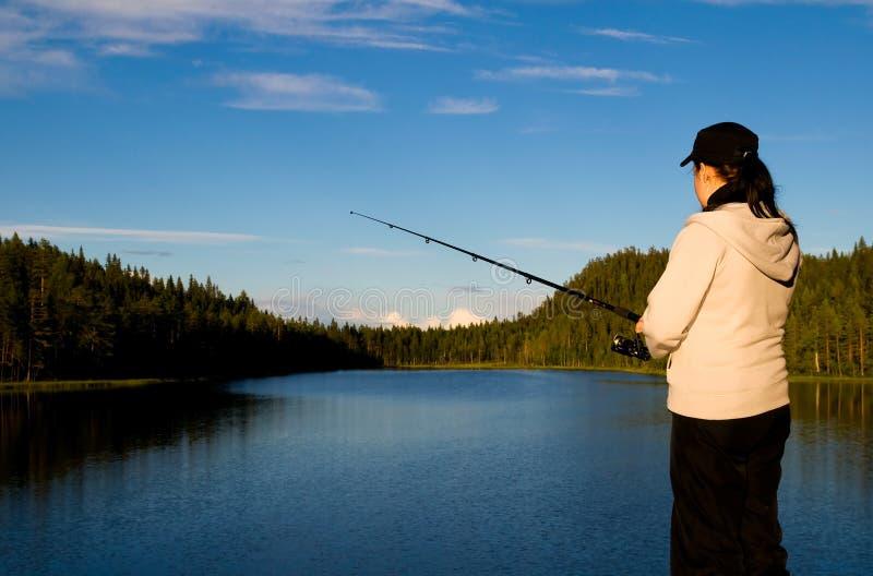 αλιεύοντας Lapland στοκ εικόνα