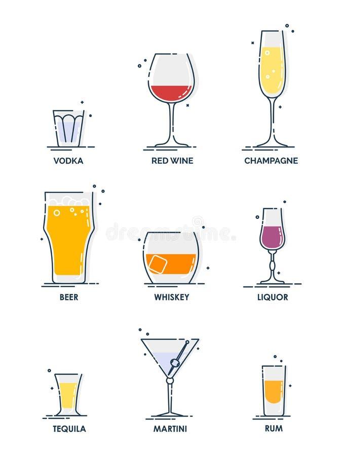 Αλκοόλη από γυαλί Αντικείμενο ποτού Σύνολο εικονιδίων ποτών Σχεδίαση γραμμής Βότκα, κρασί, σαμπάνια, ουίσκι, μπύρα, τεκίλα, ρούμι διανυσματική απεικόνιση