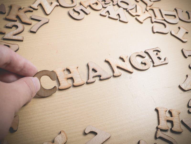 αλλαγή Έννοια τυπογραφίας λέξεων στοκ εικόνα