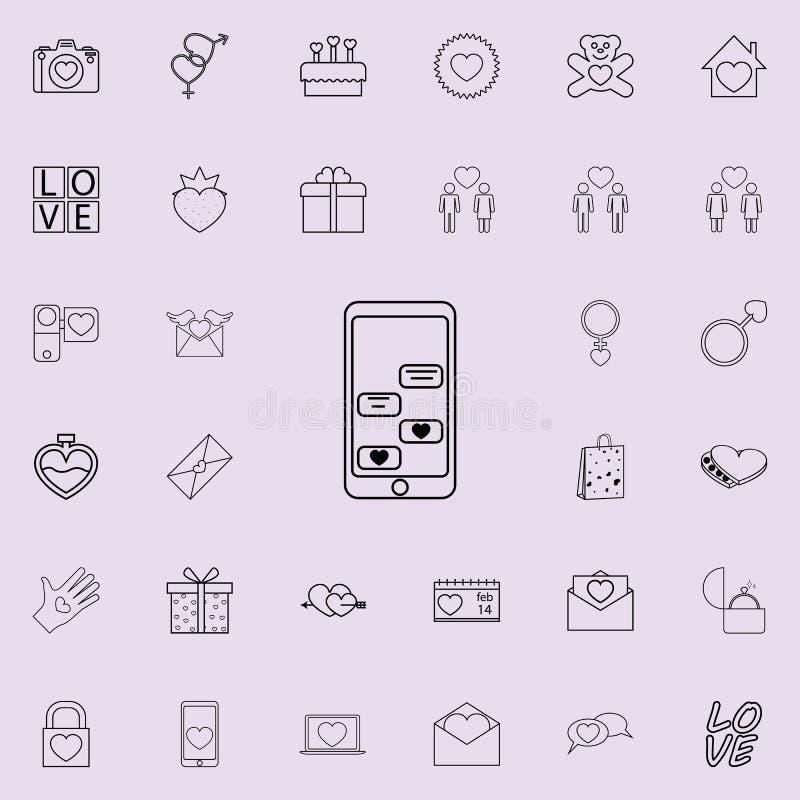 αλληλογραφία αγάπης από το τηλεφωνικό εικονίδιο Λεπτομερές σύνολο εικονιδίων βαλεντίνων Γραφικό σημάδι σχεδίου εξαιρετικής ποιότη ελεύθερη απεικόνιση δικαιώματος