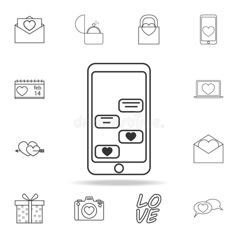 αλληλογραφία αγάπης από το τηλεφωνικό εικονίδιο Σύνολο εικονιδίων στοιχείων αγάπης Γραφικό σχέδιο εξαιρετικής ποιότητας Σημάδια,  απεικόνιση αποθεμάτων