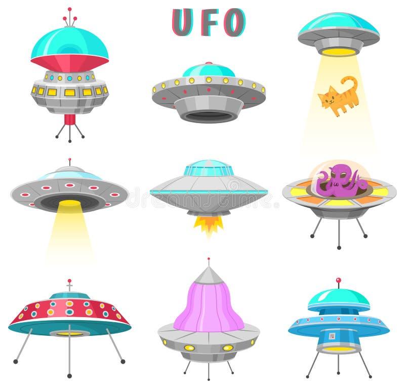 Αλλοδαπά διαστημόπλοια, σύνολο μη αναγνωρισμένου πετώντας αντικειμένου UFO, φανταστικοί πύραυλοι, κοσμικά διαστημικά σκάφη στο δι απεικόνιση αποθεμάτων