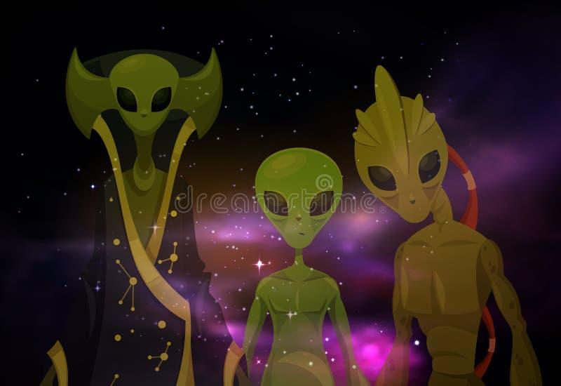 Αλλοδαποί ή Αριανοί στο διάστημα ή τον κόσμο Sci Fi απεικόνιση αποθεμάτων