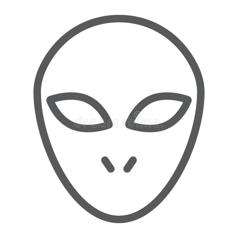 Αλλοδαποί εικονίδιο γραμμών, διάστημα και χαρακτήρας, σημάδι humanoid, διανυσματική γραφική παράσταση, ένα γραμμικό σχέδιο σε ένα ελεύθερη απεικόνιση δικαιώματος