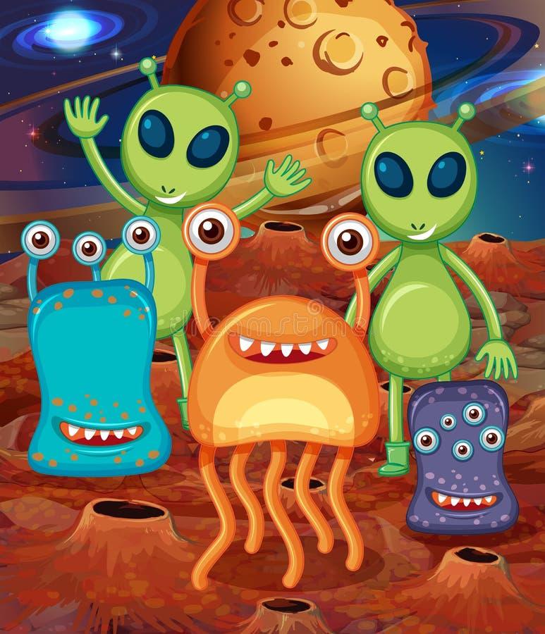 Αλλοδαπός με τους φίλους στον Άρη απεικόνιση αποθεμάτων