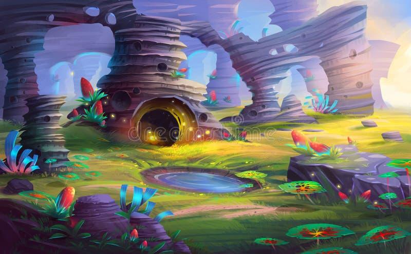 Αλλοδαπός πλανήτης το βουνό και η σπηλιά με το φανταστικό, ρεαλιστικό και φουτουριστικό ύφος διανυσματική απεικόνιση
