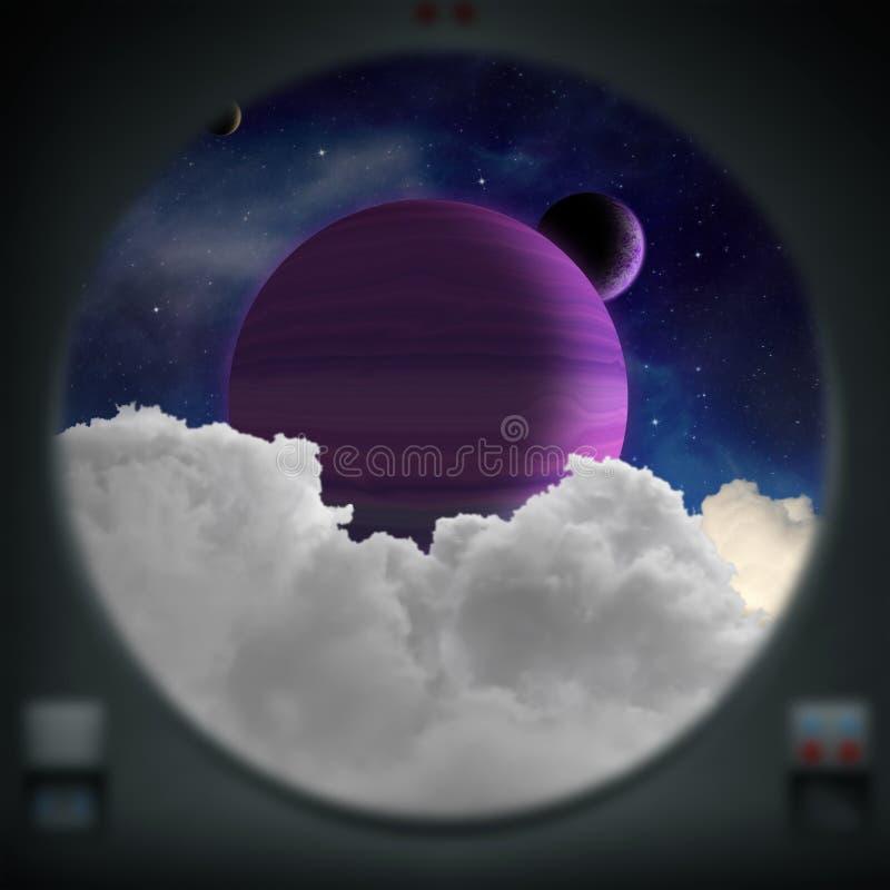 Αλλοδαπός πορφυρός πλανήτης όπως βλέπει από ένα παράθυρο διαστημοπλοίων ελεύθερη απεικόνιση δικαιώματος