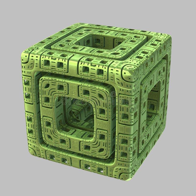Αλλοδαπός Fractal κύβος διανυσματική απεικόνιση