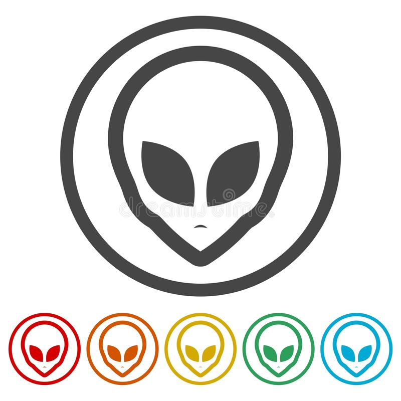 Αλλοδαπό επικεφαλής εικονίδιο, εξωγήινο αλλοδαπό πρόσωπο, 6 χρώματα συμπεριλαμβανόμενα διανυσματική απεικόνιση