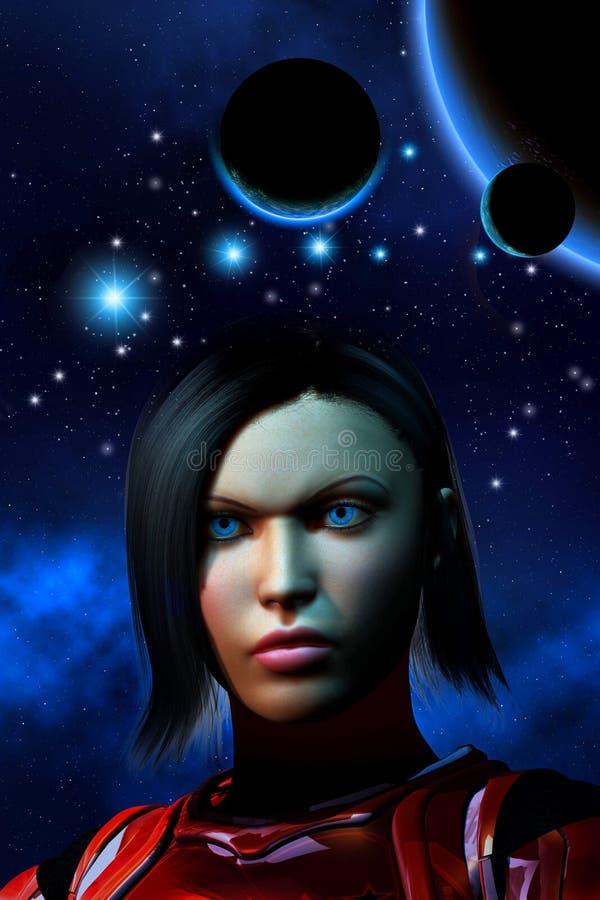 Αλλοδαπό πλανητικό σύστημα, bakground με τα αστέρια και το νεφέλωμα, φουτουριστικός στρατιώτης γυναικών, τρισδιάστατη απεικόνιση διανυσματική απεικόνιση