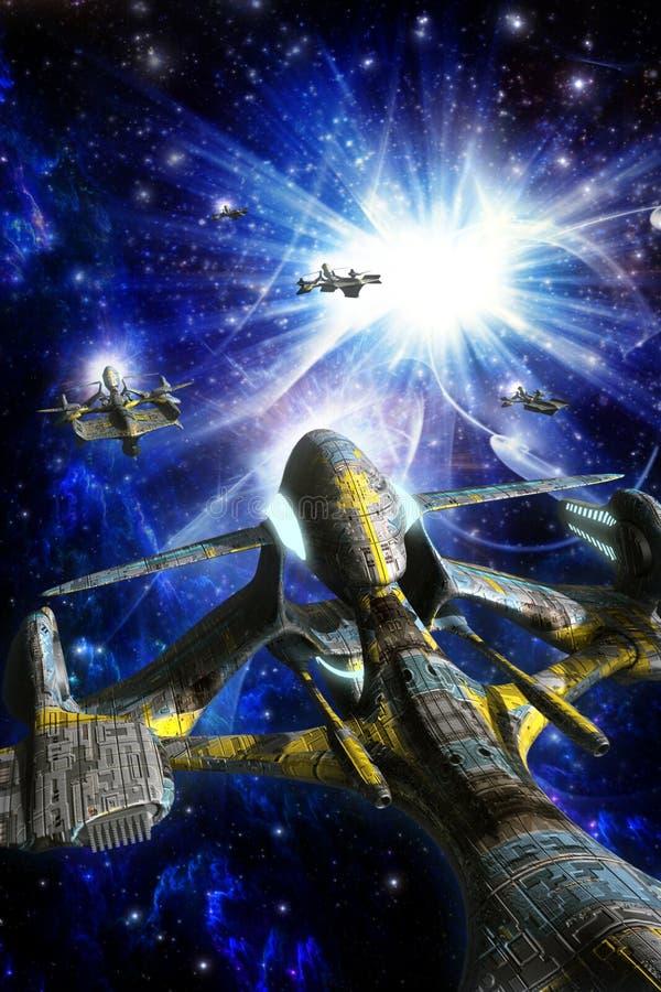 Αλλοδαπό σμήνος διαστημοπλοίων διανυσματική απεικόνιση