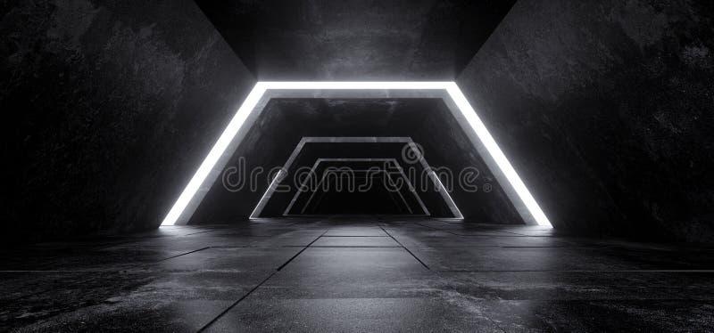 Αλλοδαπό σύγχρονο φουτουριστικό μινιμαλιστικό κενό σκοτεινό συγκεκριμένο κοβάλτιο του Sci Fi στοκ εικόνα
