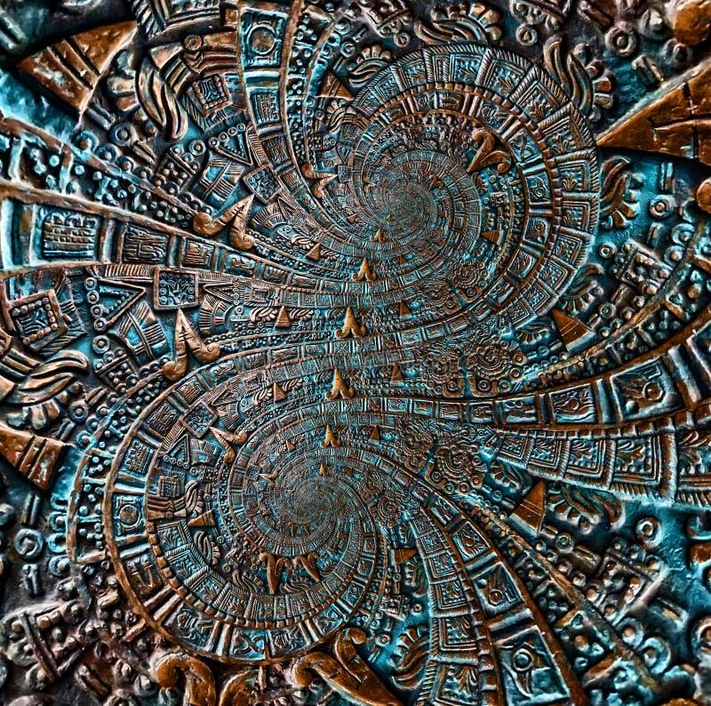 Αλλοδαπό υπόβαθρο σχεδίου διακοσμήσεων σχεδίων διακοσμήσεων χαλκού αρχαίο παλαιό κλασσικό διπλό σπειροειδές των Αζτέκων Αφηρημένο στοκ εικόνες