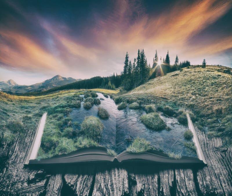 Αλπική κοιλάδα βουνών στις σελίδες του βιβλίου, τρύγος στοκ εικόνες