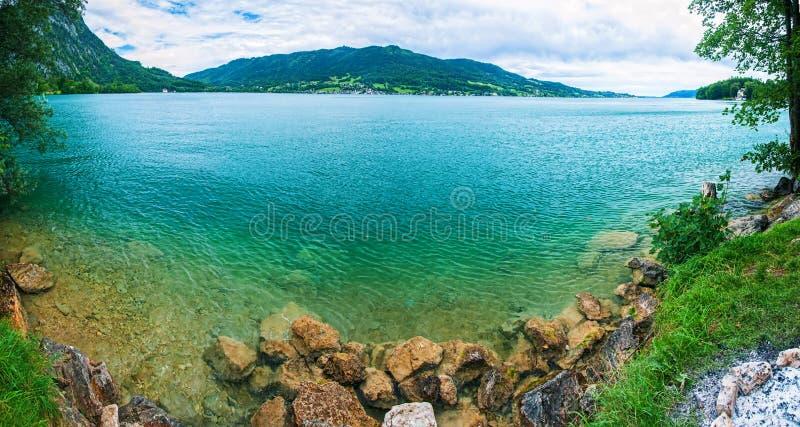 αλπικό μπλε πανόραμα λιμνών διαφανές στοκ εικόνες