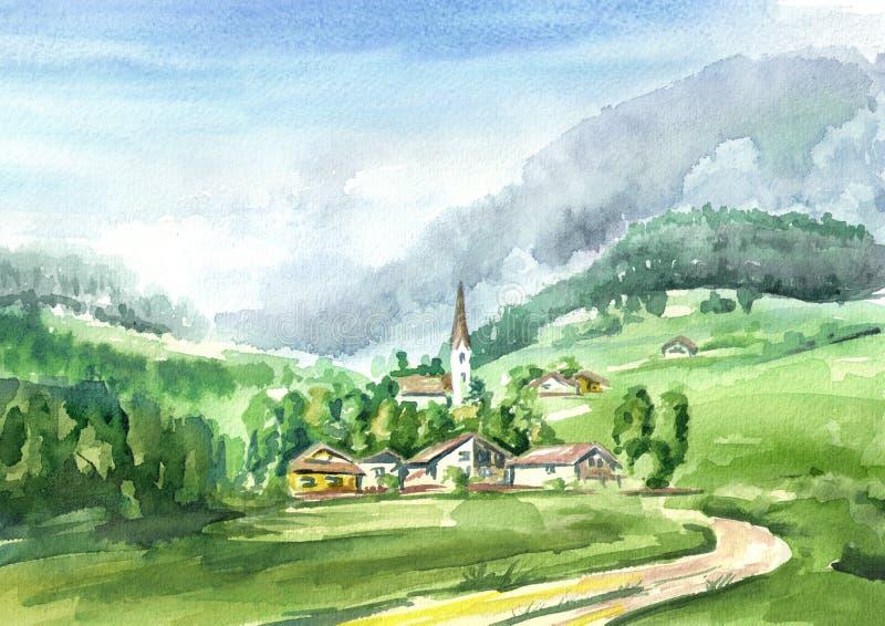 αλπικό τοπίο Συρμένη χέρι απεικόνιση Watercolor απεικόνιση αποθεμάτων