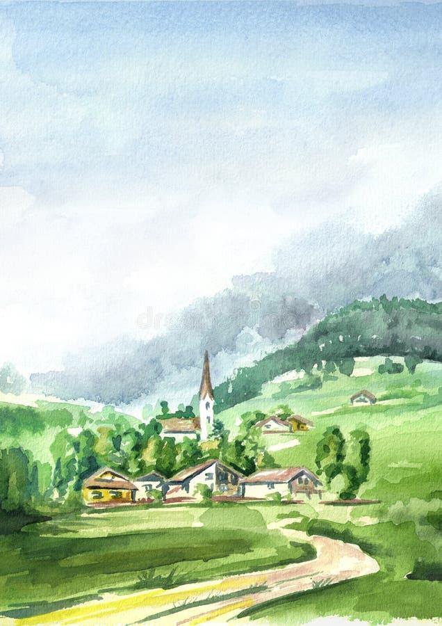 αλπικό τοπίο Συρμένη χέρι κάθετη απεικόνιση Watercolor διανυσματική απεικόνιση
