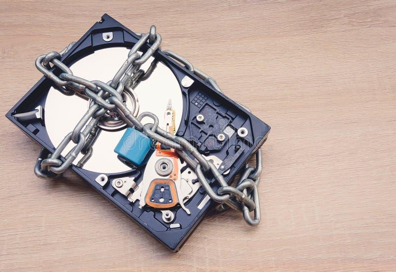 Αλυσίδα και κλειδαριά γύρω από έναν ανοιγμένο σκληρό δίσκο που απεικονίζει τις πληροφορίες στοκ εικόνες με δικαίωμα ελεύθερης χρήσης