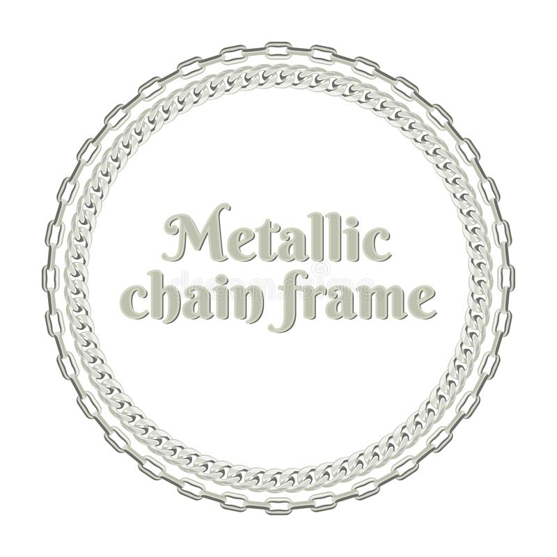 Αλυσίδα μετάλλων γύρω από το πλαίσιο Διανυσματική απεικόνιση του ασημένιου κοσμήματος διανυσματική απεικόνιση