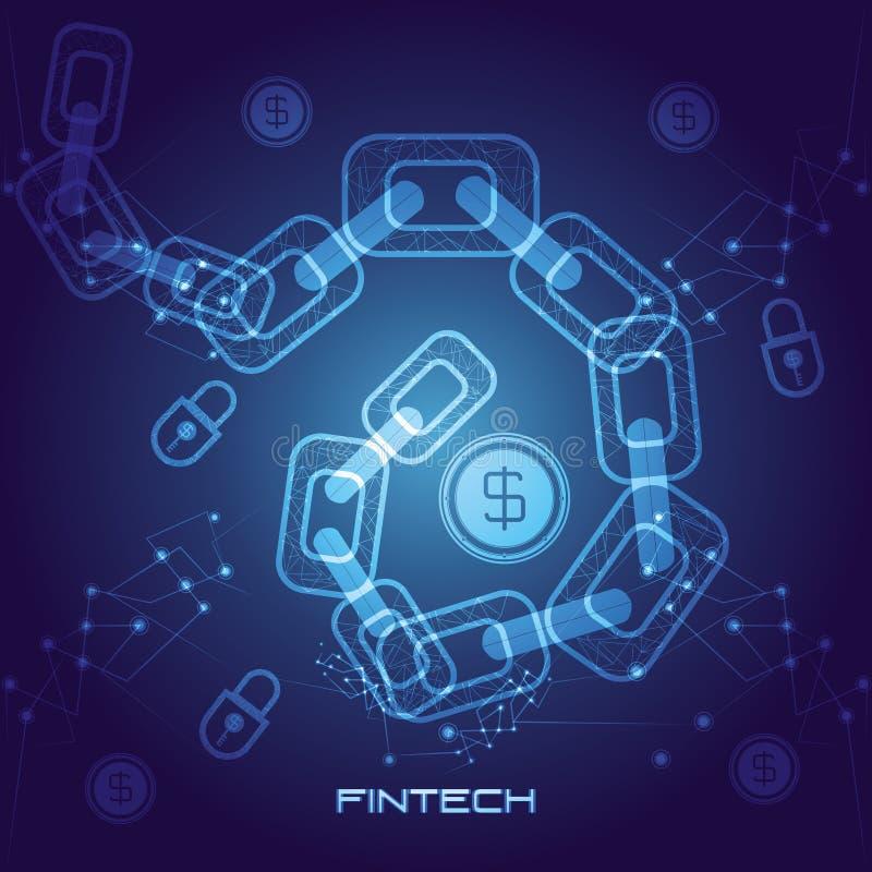 Αλυσίδα με το οικονομικό εικονίδιο τεχνολογίας χρημάτων ελεύθερη απεικόνιση δικαιώματος