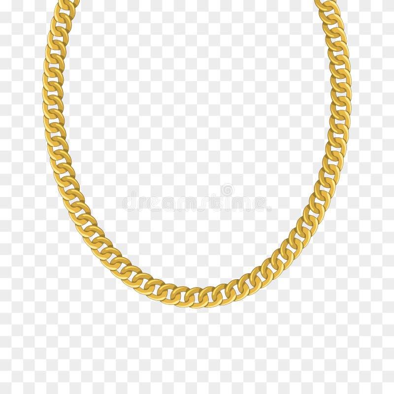 Αλυσίδα που απομονώνεται χρυσή Διανυσματικό περιδέραιο απεικόνιση αποθεμάτων