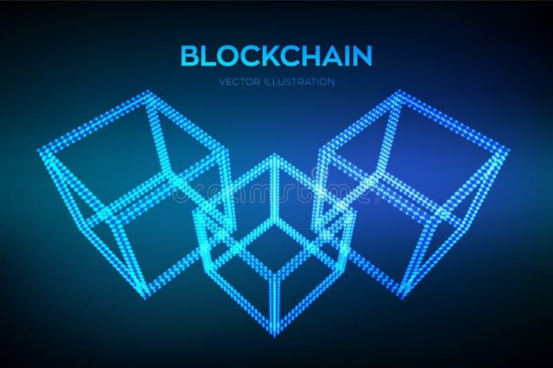 Αλυσίδα φραγμών Crypto νόμισμα Έννοια Blockchain τρισδιάστατος isometric ψηφιακός φραγμός Πρότυπο Cryptocurrency Editable Διάνυσμ απεικόνιση αποθεμάτων