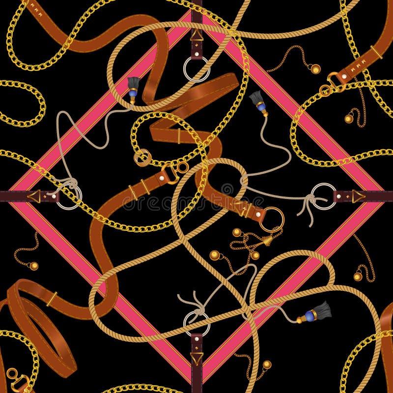 Αλυσίδες και ζώνες με τις σχηματοποιήσεις Διανυσματικό άνευ ραφής μπάλωμα για το μαντίλι, ύφασμα απεικόνιση αποθεμάτων
