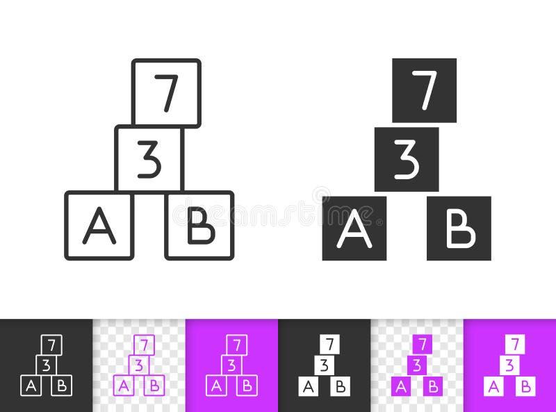Αλφάβητου διανυσματικό εικονίδιο γραμμών κύβων απλό μαύρο απεικόνιση αποθεμάτων
