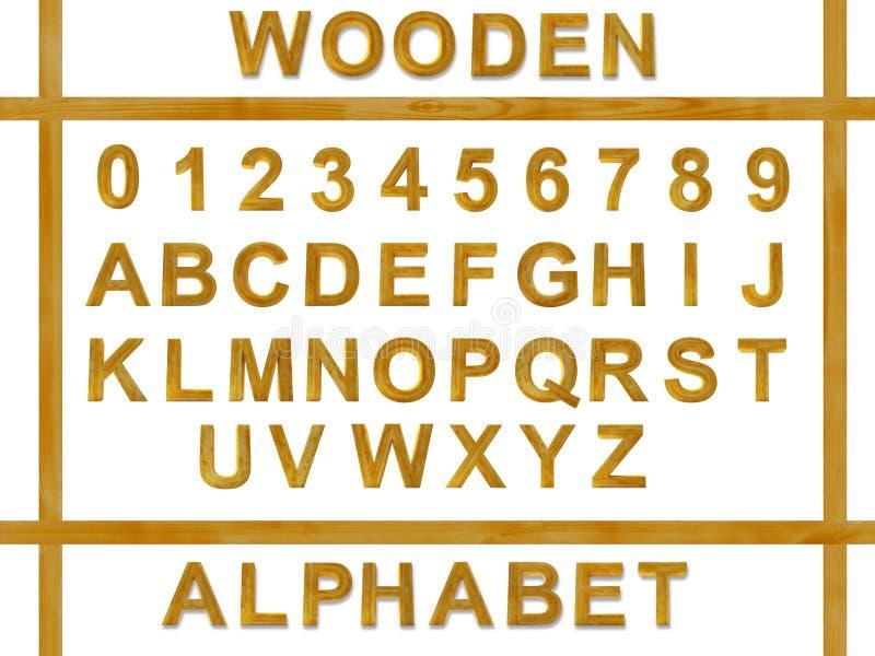 Αλφάβητο από τις ξύλινες επιστολές διανυσματική απεικόνιση