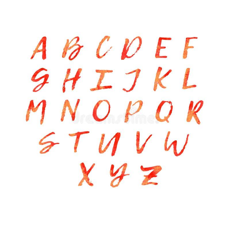 Αλφάβητο εγγραφής Watercolor στο πορτοκαλί χρώμα πυρκαγιάς απεικόνιση αποθεμάτων