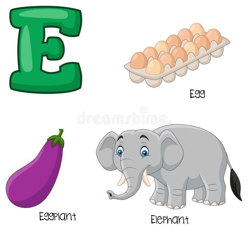 Αλφάβητο κινούμενων σχεδίων Ε διανυσματική απεικόνιση