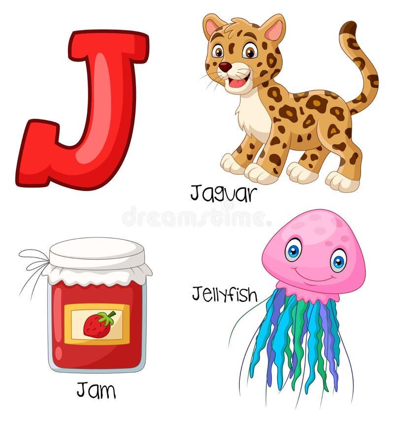 Αλφάβητο κινούμενων σχεδίων J απεικόνιση αποθεμάτων