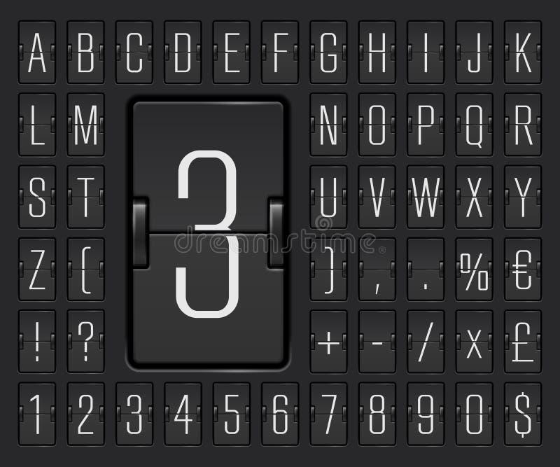 Αλφάβητο πινάκων κτυπήματος αερολιμένων για την αναχώρηση πτήσης ή την παρουσίαση πληροφοριών άφιξης επίσης corel σύρετε το διάνυ απεικόνιση αποθεμάτων