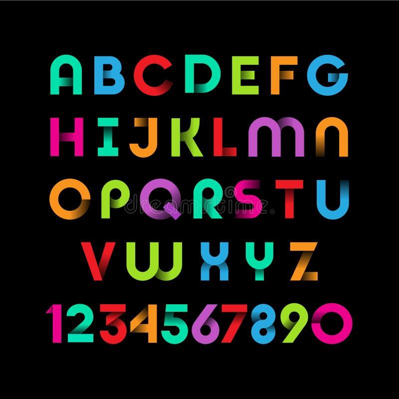 Αλφάβητο χρώματος Επιστολές των ταινιών λογότυπα Ζωηρόχρωμες επιστολές με τις σκιές απεικόνιση αποθεμάτων