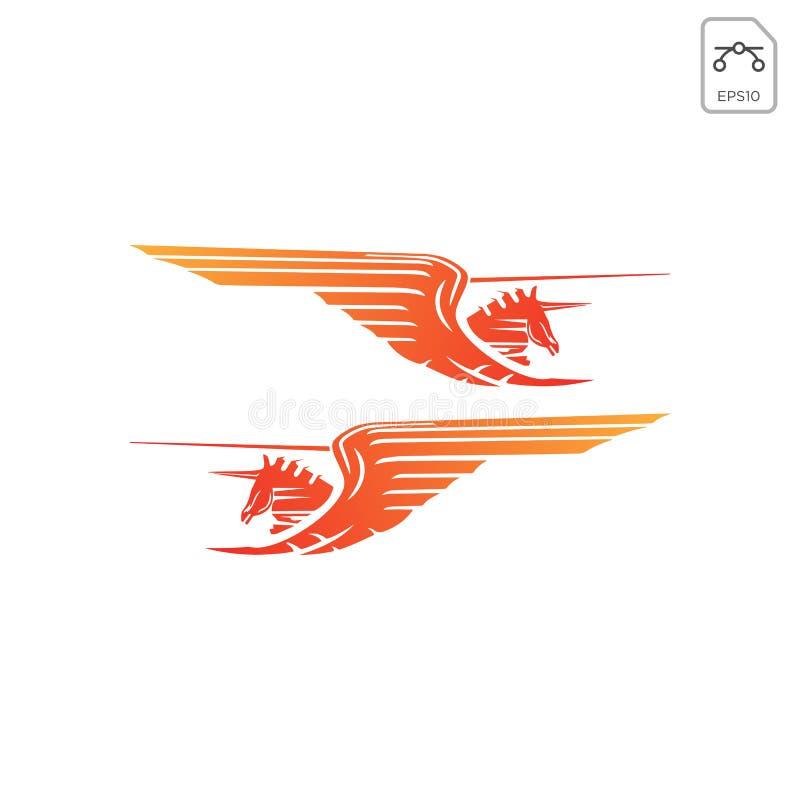αλόγων pegasus λογότυπων σχεδίου έμπνευσης εικονίδιο που απομονώνεται διανυσματικό ελεύθερη απεικόνιση δικαιώματος