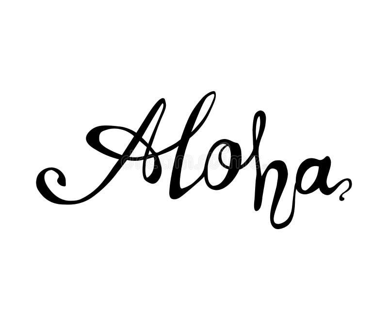 αλόης Γραπτή χέρι λέξη της Χαβάης διανυσματική απεικόνιση