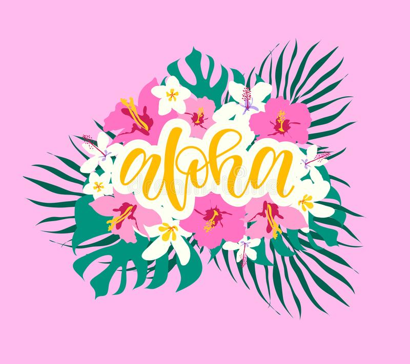 αλόης Εγγραφή χεριών με hibiscus το ρόδινο κρίνο, λουλούδια plumeria, φύλλο παλαμών επίσης corel σύρετε το διάνυσμα απεικόνισης Ε απεικόνιση αποθεμάτων