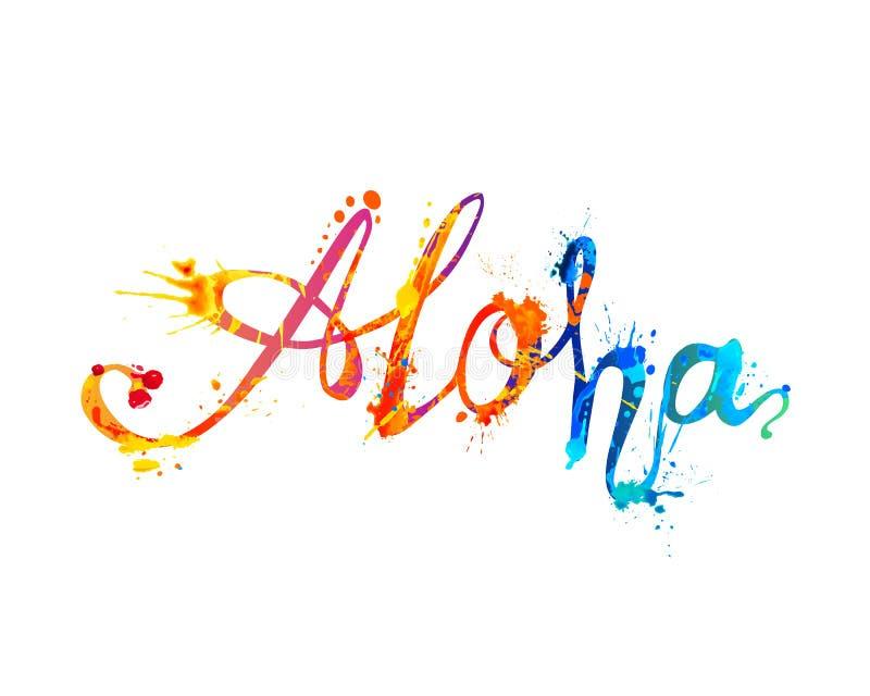 αλόης Λέξη της Χαβάης του χρώματος παφλασμών απεικόνιση αποθεμάτων