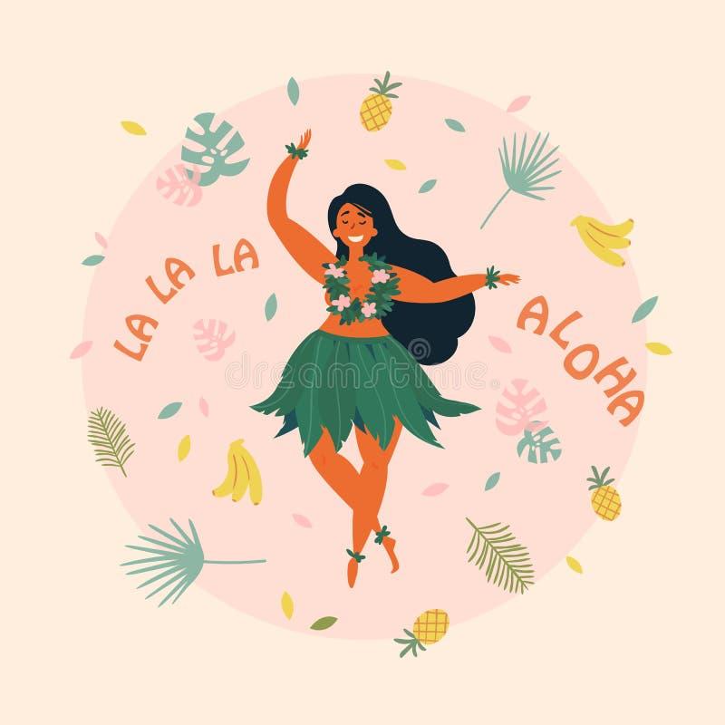 αλόης Της Χαβάης αφίσα διακοπών με το χορευτή Hula ελεύθερη απεικόνιση δικαιώματος