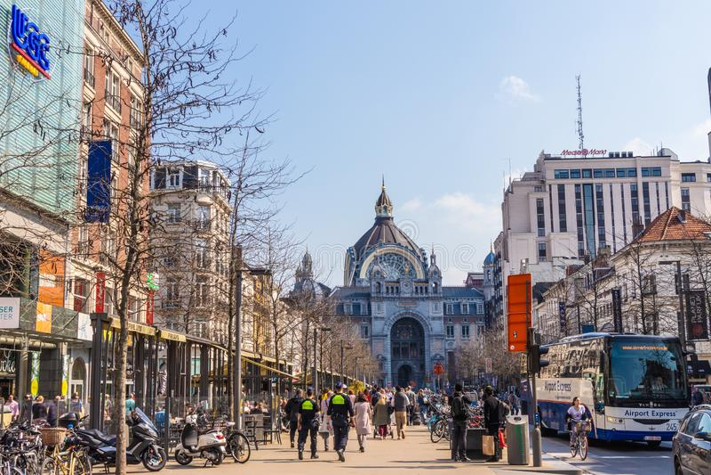 Αμβέρσα, Βέλγιο - 7 ΑΠΡΙΛΊΟΥ 2019: Κεντρικός σταθμός της Αμβέρσας στην Αμβέρσα στοκ εικόνα με δικαίωμα ελεύθερης χρήσης