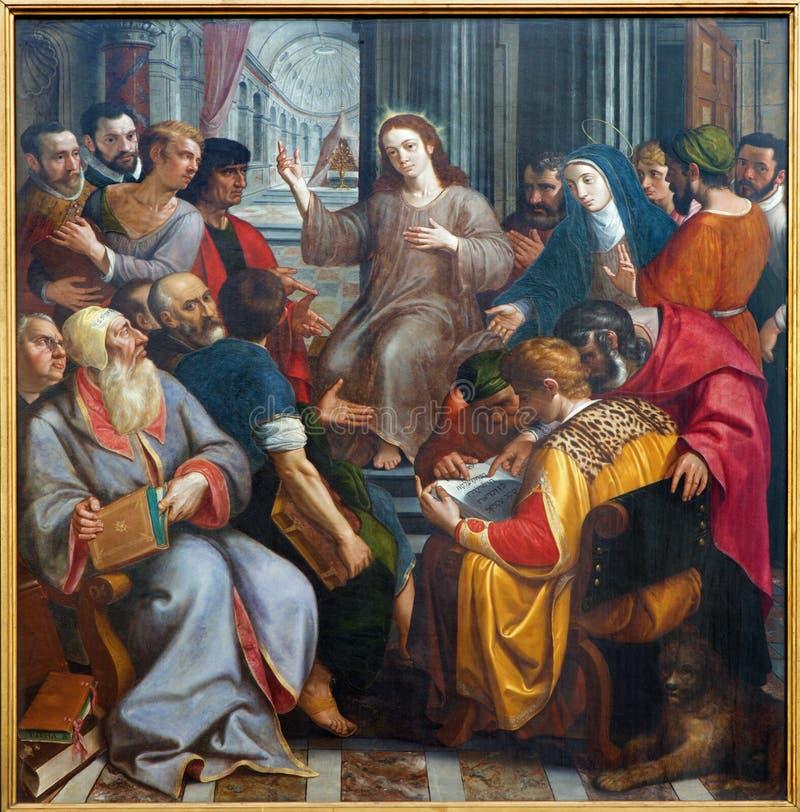 Αμβέρσα - Ιησούς μεταξύ των γραφέων από το Frans Francken από το έτος 1587 στον καθεδρικό ναό της κυρίας μας στοκ εικόνες