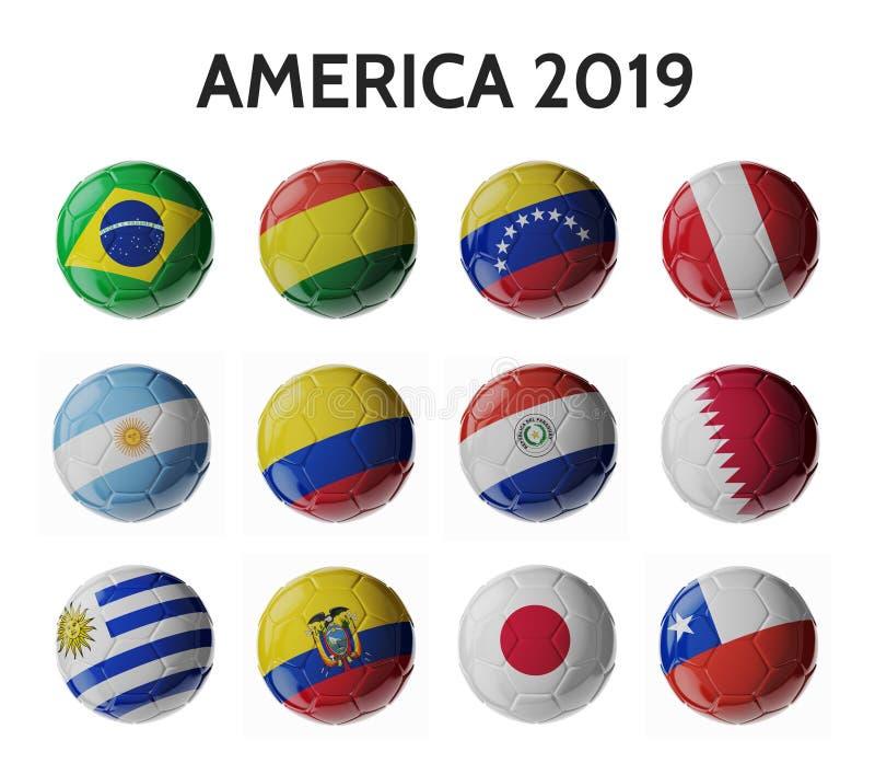 Αμερική 2019 Σφαίρες ποδοσφαίρου/ποδοσφαίρου στοκ φωτογραφία με δικαίωμα ελεύθερης χρήσης