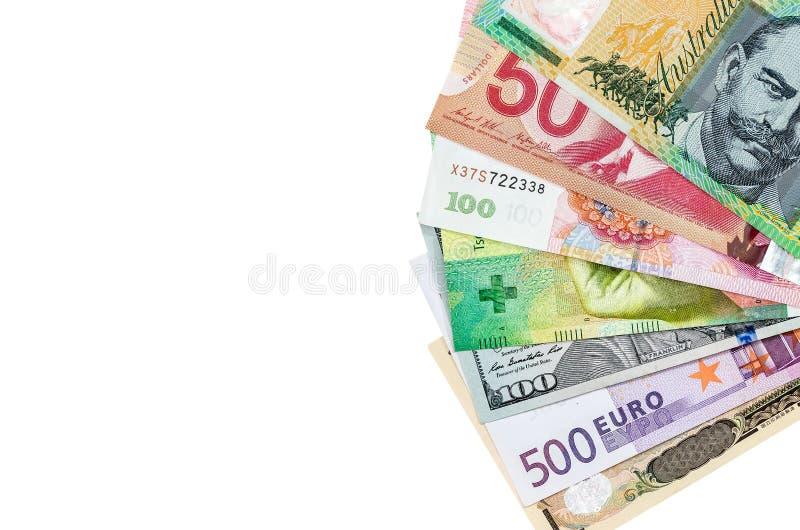 Αμερικανικά εμείς καναδικό αυστραλιανό δολάριο, ευρο-, ιαπωνικά γεν, και κινεζικό τραπεζογραμμάτιο Yuan που απομονώνεται στοκ φωτογραφίες με δικαίωμα ελεύθερης χρήσης