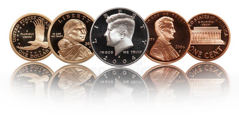 Αμερικανικά νομίσματα καθορισμένα διανυσματική απεικόνιση