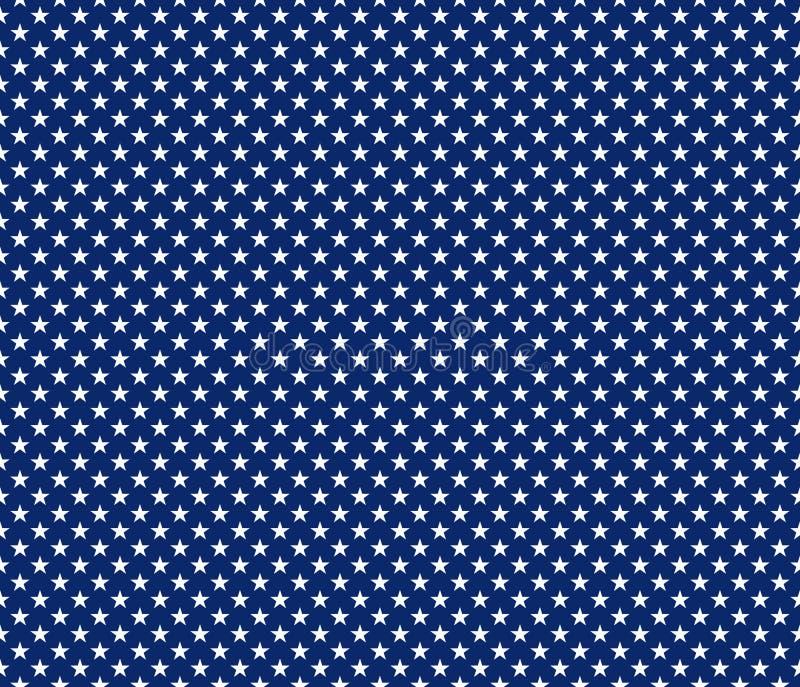 Αμερικανικά πατριωτικά άνευ ραφής άσπρα αστέρια σχεδίων στο μπλε backgrou ελεύθερη απεικόνιση δικαιώματος