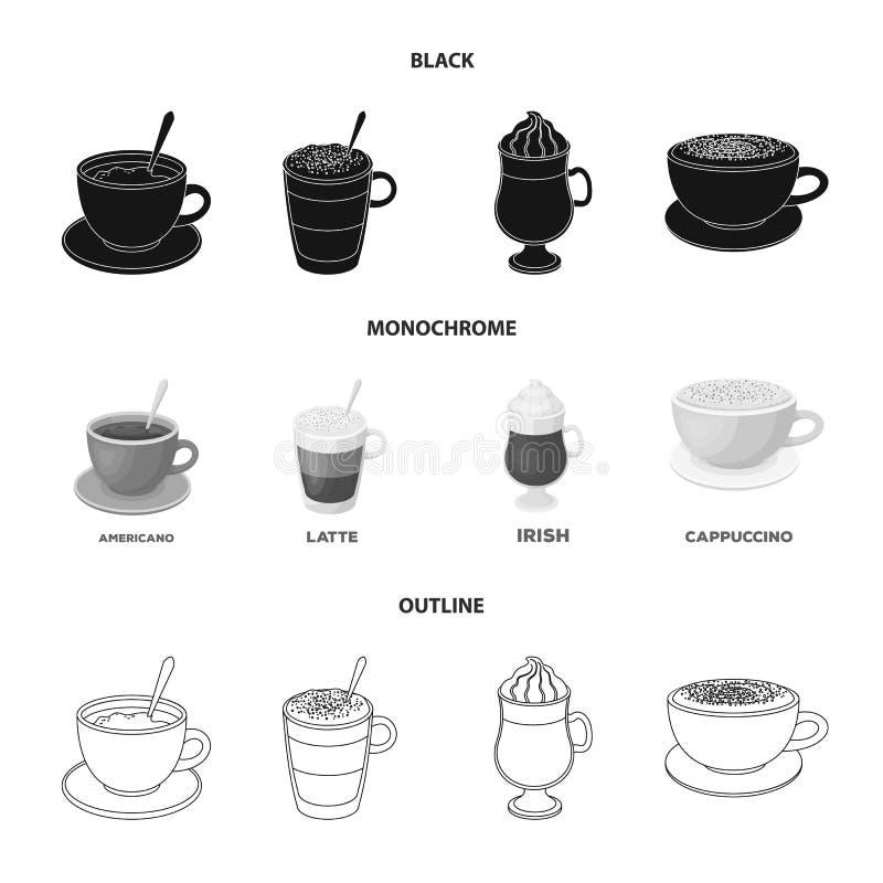 Αμερικανικά, πρόσφατος, ιρλανδικά, cappuccino Διαφορετικοί τύποι καθορισμένων εικονιδίων συλλογής καφέ στο μαύρο, μονοχρωματικό,  ελεύθερη απεικόνιση δικαιώματος