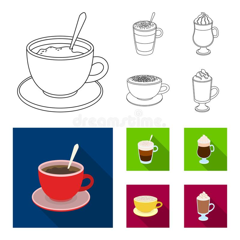 Αμερικανικά, πρόσφατος, ιρλανδικά, cappuccino Διαφορετικοί τύποι καθορισμένων εικονιδίων συλλογής καφέ στην περίληψη, επίπεδο δια ελεύθερη απεικόνιση δικαιώματος