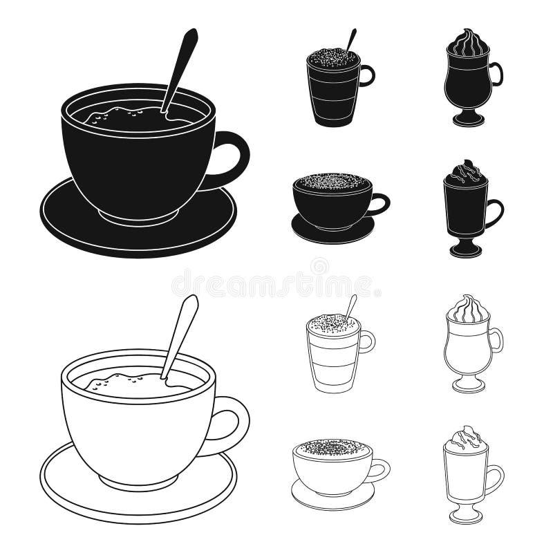 Αμερικανικά, πρόσφατος, ιρλανδικά, cappuccino Διαφορετικοί τύποι καθορισμένων εικονιδίων συλλογής καφέ στο Μαύρο, διανυσματικό σύ διανυσματική απεικόνιση